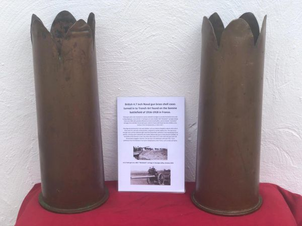 Rare to find British matching pair of trench art brass shell cases cut down rare pre war stock dated 1902-1908 for the 4.7 inch Navel gun found on the Somme battlefield 1916-1918