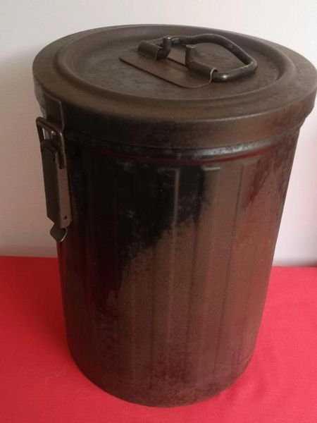 German Army large metal made artillery ammunition container with black paint remains lovely condition the lid works perfectly found at a brocante flea market in Bayeux in Normandy 1944 battlefield