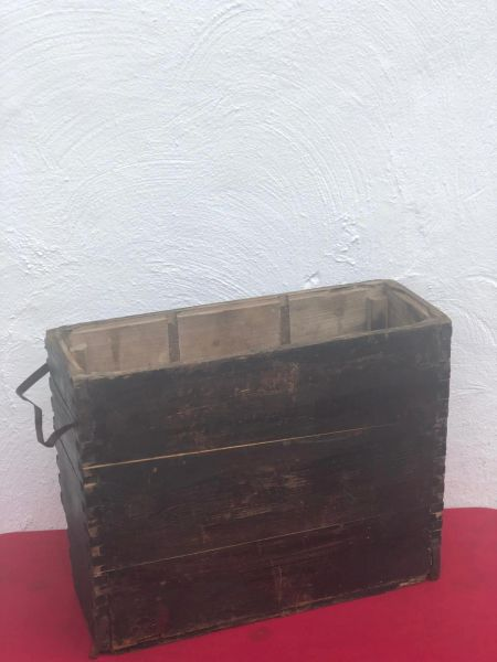 German 6 shell cases for 10.5cm LFH18 light howitzer carry crate with original black paintwork but not complete recovered on the Sevastopol battlefield in the Crimea 1941- 1942