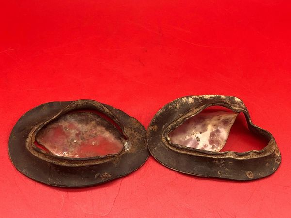 German soldier motorcycle goggle remains nice solid relic used by German soldier of the 212 Volksgrenadier-Division recovered from rubbish pit found near the town of osweiler in the Ardennes, Battle of the Bulge winter 1944-1945