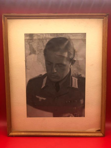Rare original large glass framed picture of German Afrikakorps major iron cross winner some sort of author or writer lovely condition from Museum closed down in 2015 on the battlefield at Monte Cassino in Italy