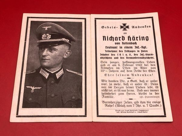 Original German soldiers memorial death card nice complete condition for Lieutenant Richard Haring he won iron cross 1st and 2nd class he died fighting in the east 1942 on the field of honour