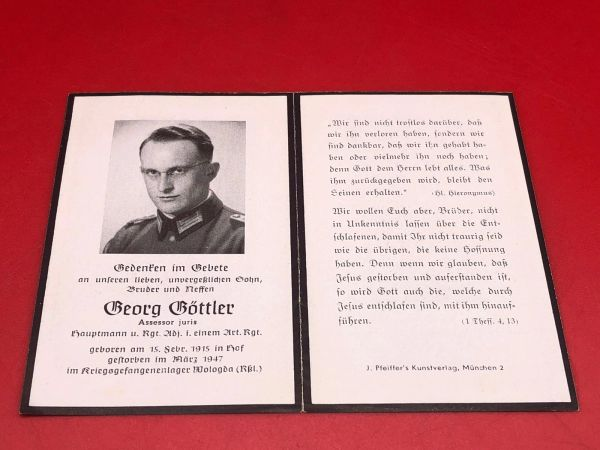 Original German soldiers memorial death card nice complete condition for Captain Beorg Bottler died in 1947 in a prisoner of war camp in Vologda, Russia