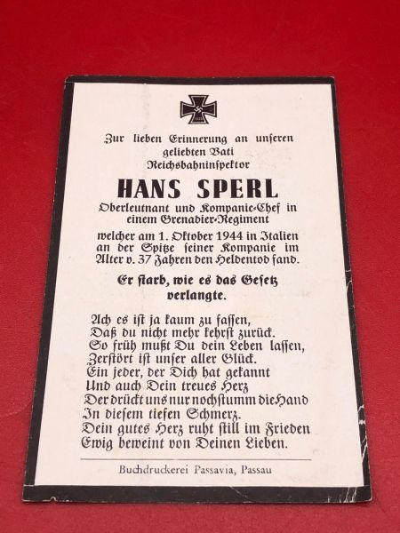 Rare Italian front original German soldiers memorial death card nice complete condition for Lieutenant Hans Sperl in a grenadier killed in Italy on the 1st October 1944
