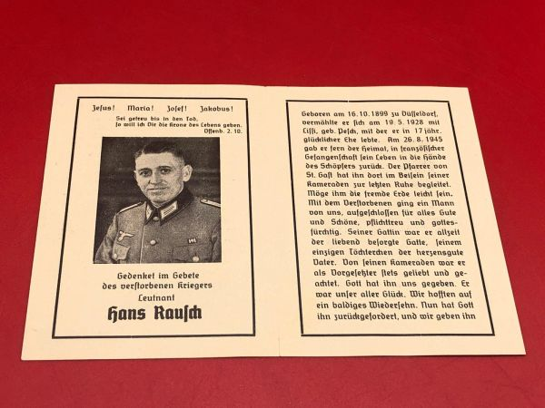 Original German soldiers memorial death card nice complete condition for Lieutenant Hans Raujdi died as a prisoner in Russia 1945
