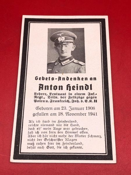 Original German soldiers memorial death card nice complete condition for Lieutenant Anton Heindl he won the iron cross 2nd class and died in 1941