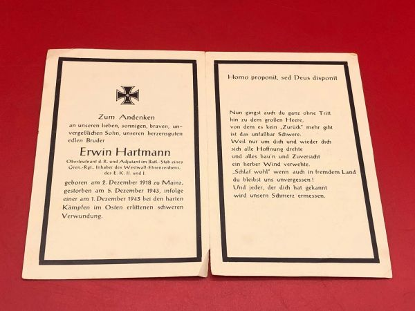 Original German soldiers memorial death card nice complete condition for Lieutenant Erwin Hartmann in a Grenadier Regiment he won iron cross 1st and 2nd class died in 1943 in the hard fighting in the east