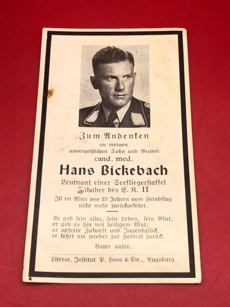 Original German soldiers memorial death card nice complete condition for Luftwaffe aircrew Lieutenant Hans Bickebach he won the Iron Cross 2nd class he died aged 23 years after a long fight with the Enemy