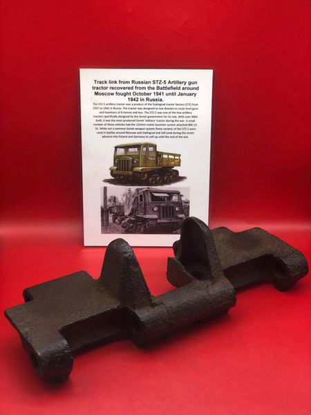 Track link complete, nice condition relic for a Russian STZ-5 artillery gun tractor recovered from the Battlefield around Moscow fought October 1941 until January 1942 in Russia.