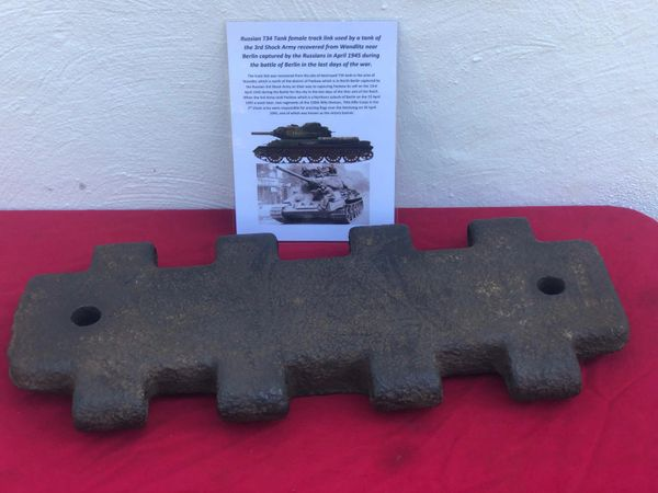 Female track link with nice clear maker markings, nice condition relic from Russian T34 tank of the 3rd Shock Army recovered in the area of Wandlitz near district of Pankow in North Berlin April 1945