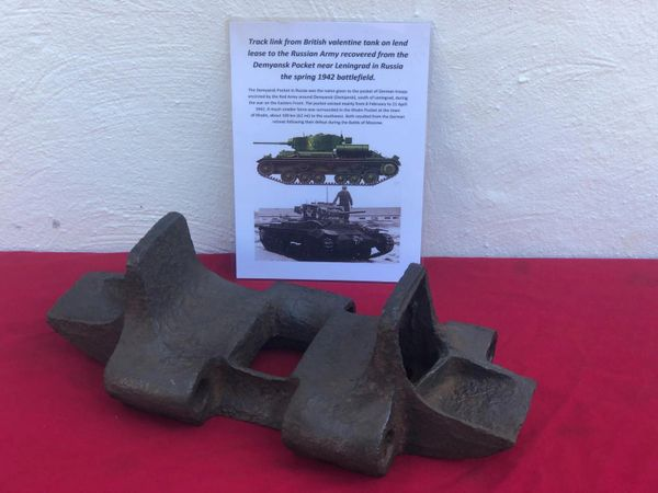 Nice complete track link from British valentine Tank on lend lease to the Russian Army recovered from a tank destroyed in the Demyansk Pocket in Russia 1941-1942 battlefield