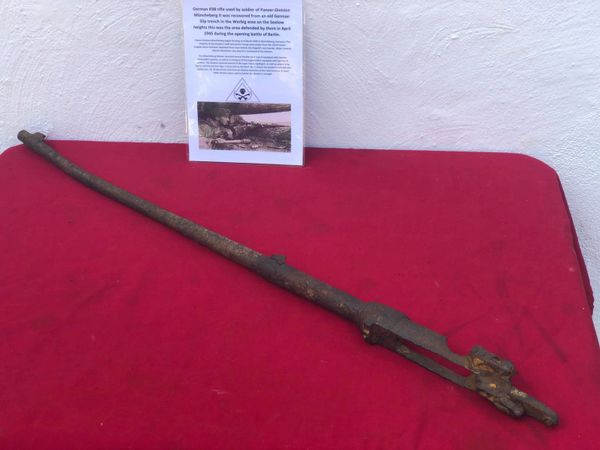 German K98 rifle, nice solid relic condition used by soldier in Panzer-Division Müncheberg recovered from an old German Slip trench in the Werbig area this was the area defended by them on the Seelow heights during the April 1945 battle