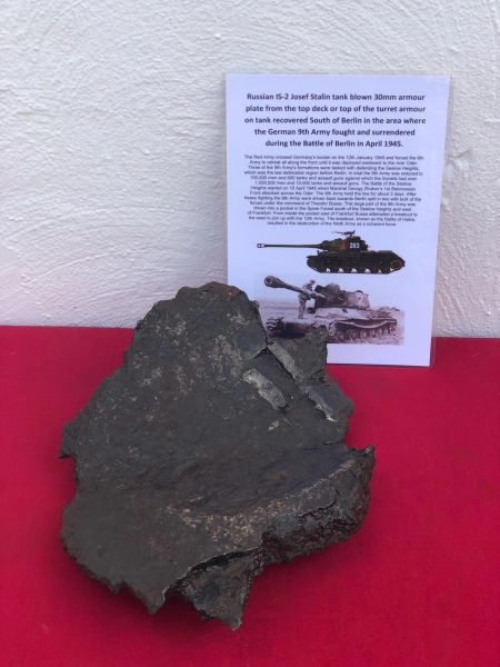 Russian IS-2 josef stalin tank large ripped section of 30mm armoured plate with nice shiny weld recovered from the site of a destroyed tank South of Berlin in the area,German 9th Army fought, surrendered in April 1945 during the battle of Berlin