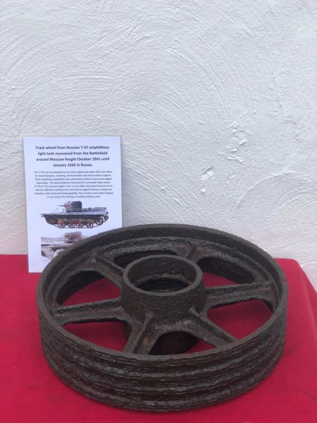 Rare to find track Wheel from Russian T-37 amphibious light tank recovered from the Battlefield around Moscow fought October 1941 until January 1942 in Russia.