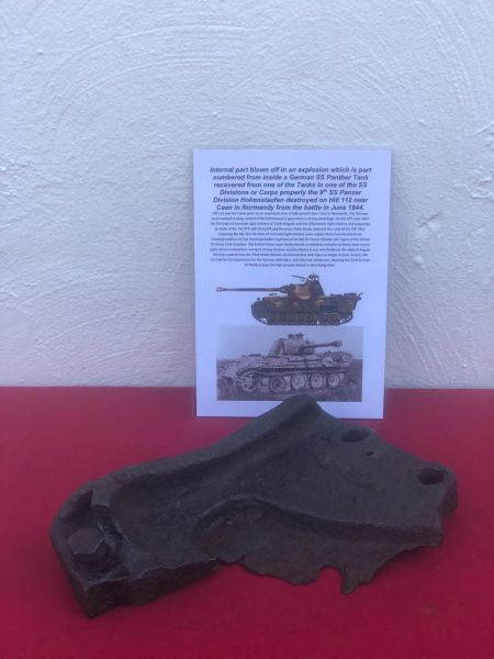 Internal large bolted plate properly from engine bay which is part numbered,nice solid relic from German Panther tank in one of SS Division or Corps Tank properly the 9th SS Panzer Division which was defending Hill 112 near Caen in Normandy 1944 battle