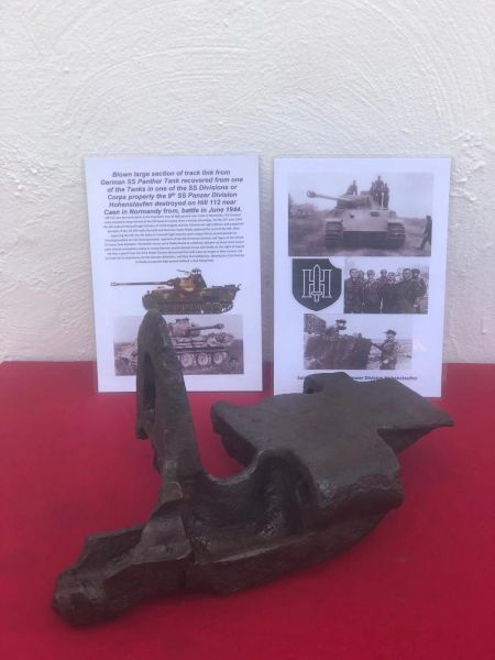 Very large track link end section, nice solid relic maker marked from German Panther tank in one of SS Division or Corps Tank properly the 9th SS Panzer Division which was defending Hill 112 near Caen in Normandy 1944 battle