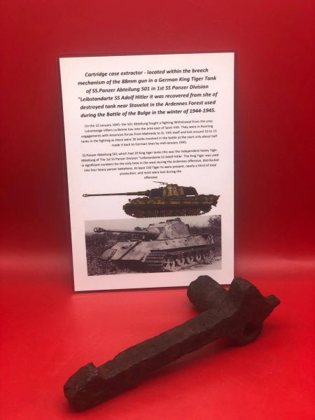 German Tiger tank relic which is a cartridge case extractor - located within the breech mechanism of the famous 88mm gun recovered near Stavelot in the Ardennes Forest used in the Battle of the bulge 1944-1945
