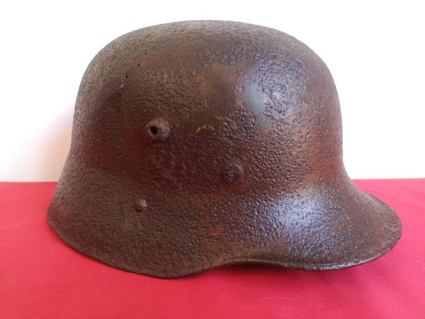 Very rare German SS used reissued M17 Austrian helmet with original paintwork and decal remains clear to see It was bought on a flee market in Berlin originally recovered during building works in the 1990s in the Kopenick district of the City