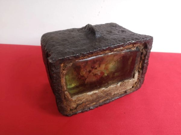 Russian IS-2 Josef Stalin tank armoured glass vision block still mounted in its armoured case recovered from the Seelow Heights 1945 battle of Berlin