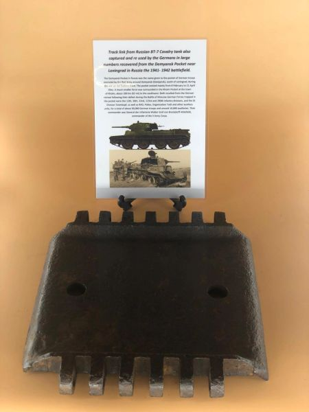 Rare to find nice complete track link from Russian BT-5 Cavalry tank also captured and used by the Germans recovered in the Demyansk Pocket in Russia 1941-1942 battlefield