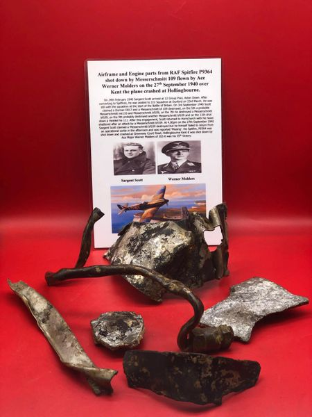 Large group of airframe and engine parts, nice clean relics lots of original colour and paintwork from RAF Spitfire P9364 shot down by Messerschmitt 109 flown by Ace Werner Molders on the 27th September 1940 crashed at Hollingbourne