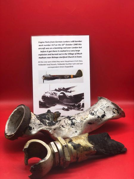 Two pipework sections one aluminium the other rubber hose maker marked connectors also ink stamp recovered from Junkers ju88 bomber number 317 shot down 16th October 1940 which crashed in Essex