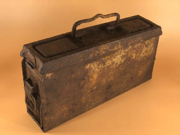 German mg 34/42 single ammunition tin with some yellow sand camouflage paint nice condition solid relic recovered from village of Plota near Prokhorovka on the battlefield at Kursk 1943 in Russia