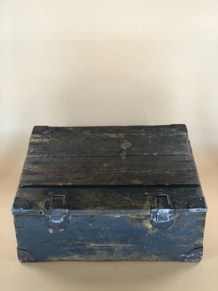 German wooden crate ammunition box not sure for what it carried with wartime repair from a local brocante in Bras a village just outside Bastogne from the Bulge battle 1944-1945