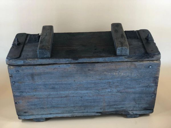 German wooden crate for carrying battery's still with original blue paintwork used by 116th Panzer Division recovered from near Houffalize in the Ardennes forest from battle of the bulge winter 1944-1945