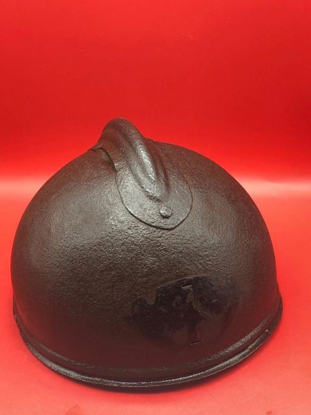 Very rare WW1 French Adrian Tank Officers Crew Helmet very nice condition with some original paintwork.