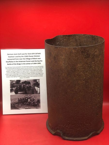 German steel shell case solid relic for 15cm SFH 18 heavy field howitzer used by the 116th Panzer Division recovered ifrom the battle field around Houffalize in the Ardennes Forest from battle of the Bulge 1944-1945