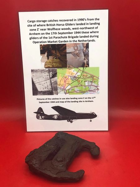 Cargo storage catch, solid relic recovered in 1990's from the site of where British Horsa Gliders landed in landing zone Z' near Wolfheze woods near Arnhem, 17th September 1944,gliders of the 1st Parachute Brigade landed during Operation Market Garden