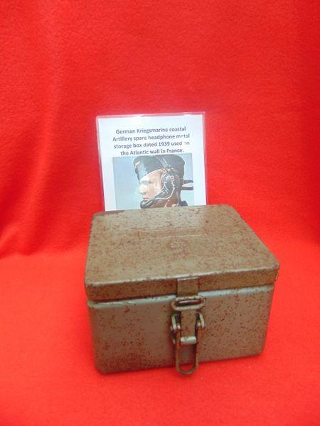 SOLD German Kriegsmarine coastal artillery spare headphone metal storage box