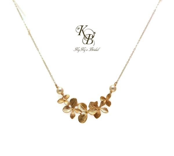 Orchid Necklace Bridal Jewelry 14k Gold Filled Necklace Wedding