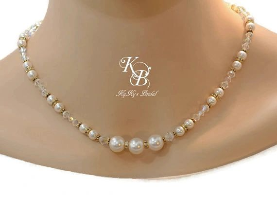 Wedding Jewelry Pearl And Gold Necklace Bridal Necklace Wedding