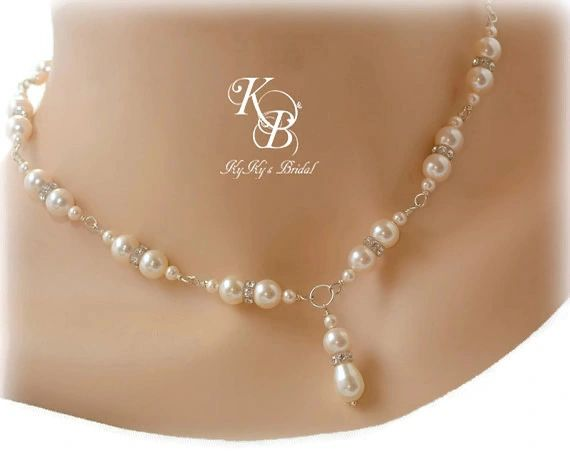 Bridal Necklace Pearl And Crystal Wedding Necklace Pearl Wedding Jewelry Bridal Y Necklace Pearl Bridal Jewelry Pearl Necklace Prom Jewelry Kyky S Bridal Handmade Bridal Jewelry Wedding Jewelry