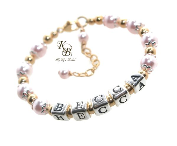 Bespoke Sterling Silver Baby Christening Bracelet Gift Customise with Any Name