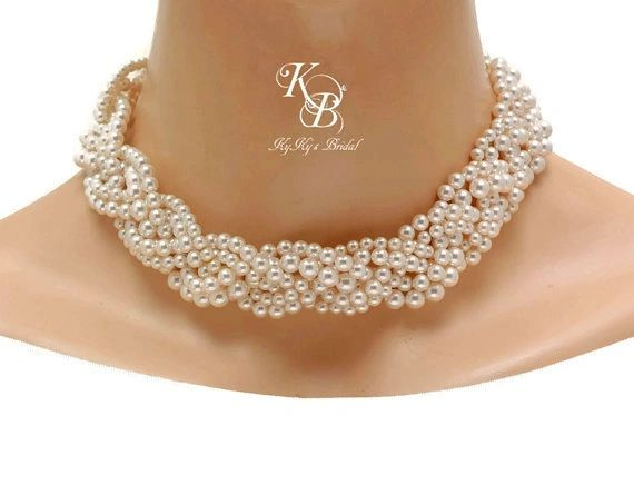 Braided Pearl Necklace Chunky Wedding Necklace Bridal Statement