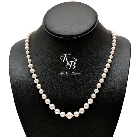 Swarovski Pearl Necklace Pearl Bridal Necklace Pearl Wedding