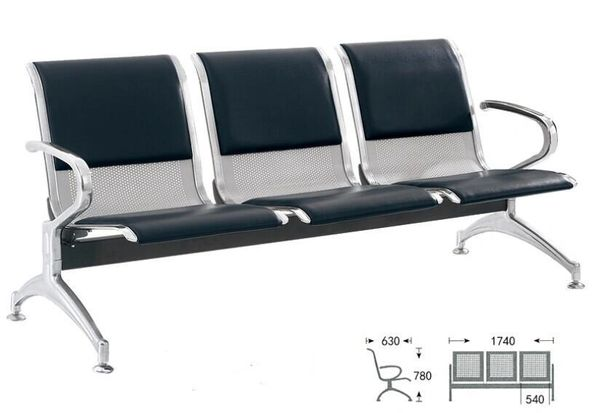 Waiting Bench (Iron, Cushion 3-Seater)
