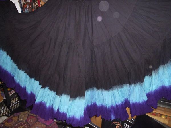 BLK TUQ PURPLE DIP DYED ATS®Triple Dip-Dyed Tribal Bellydance Gypsy Skirt
