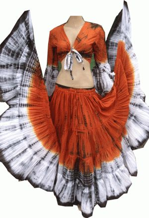 RUST WHITE TIGER ATS®TRIBAL GYPSY MULTI COLORED TRIBAL SKIRT
