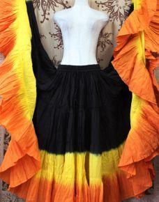 PHOENIX FIRE DIP DYED ATS®Triple Dyed Tribal Bellydance Gypsy Skirt
