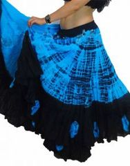 BLUE TIGER DIP DYED ATS®TIGER TEAL TURQ Dip Dyed Tribal Bellydance ATS®Tribal Gypsy Skirts