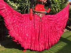 FUSHIA PAISLEY CHUNRI Tribal Bellydance Gypsy Skirt