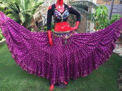 PURPLE PAISLEY CHUNRI Tribal Bellydance Gypsy Skirt
