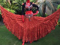 CORAL PAISLEY CHUNRI Tribal Bellydance Gypsy Skirt