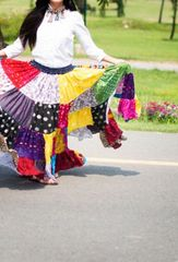 PATCHWORK ATS®TRIBAL BELLYDANCE GYPSY MULTI COLORED TRIBAL SKIRT