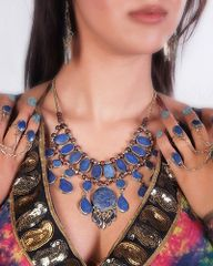 KUCHI Vintage Tribal BellyDance LAPIS Blue Choker Necklace