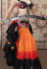 ORANGES BLACK DIP DYED ATS®Triple Dyed Tribal Bellydance Gypsy Skirt